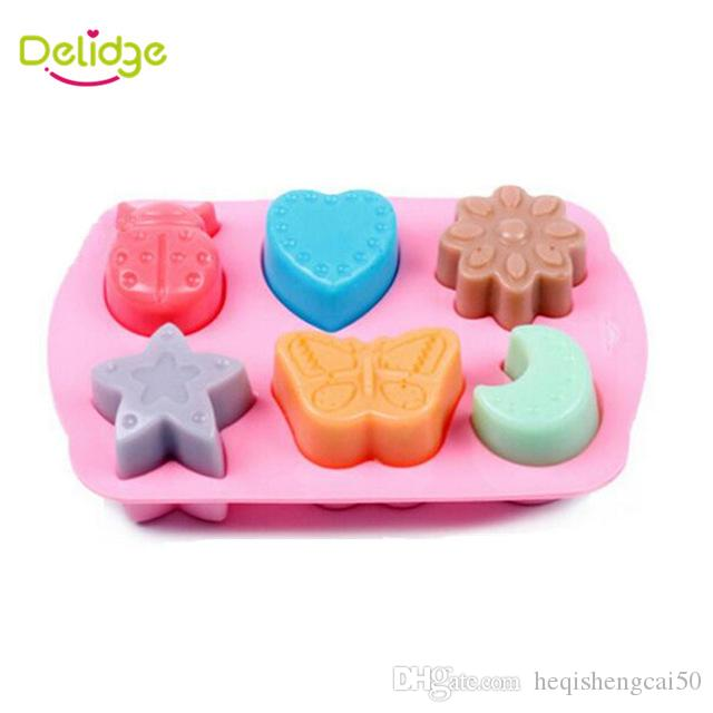 15a9f3365 2019 Delidge 6 Holes Different Shape Cake Mold Silicone Star Moon Heart  Flower Butterfly Ladybug Chocolate Cake Moulds From Heqishengcai50, $2.82 |  DHgate.