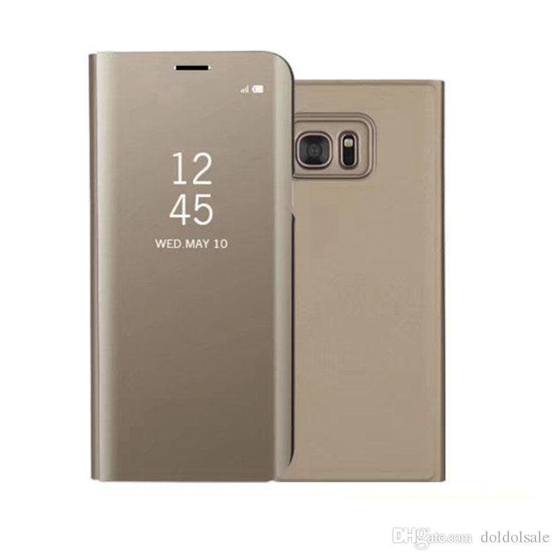 Custodia Clear Mirror di lusso Samsung Galaxy S6 Edge Plus S7 Edge S8 plus Nota 5 Nota 8 Copertura del telefono Placcatura Base Stand verticale