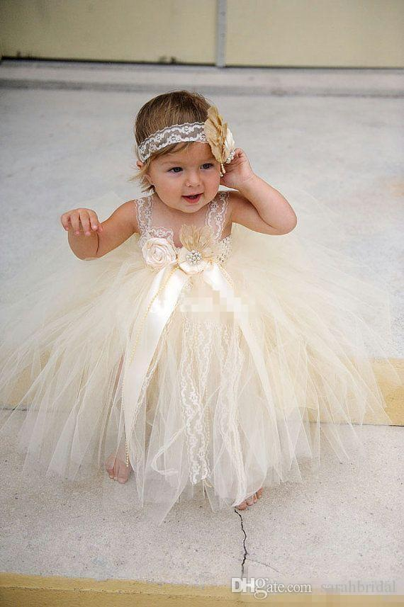 Champgne Beaded Lace Toddler Baby Flower Girls Dresses 2017 Spaghetti Ball Gown Infant Little Girls Pageant Dresses Formal Wear For Wedding