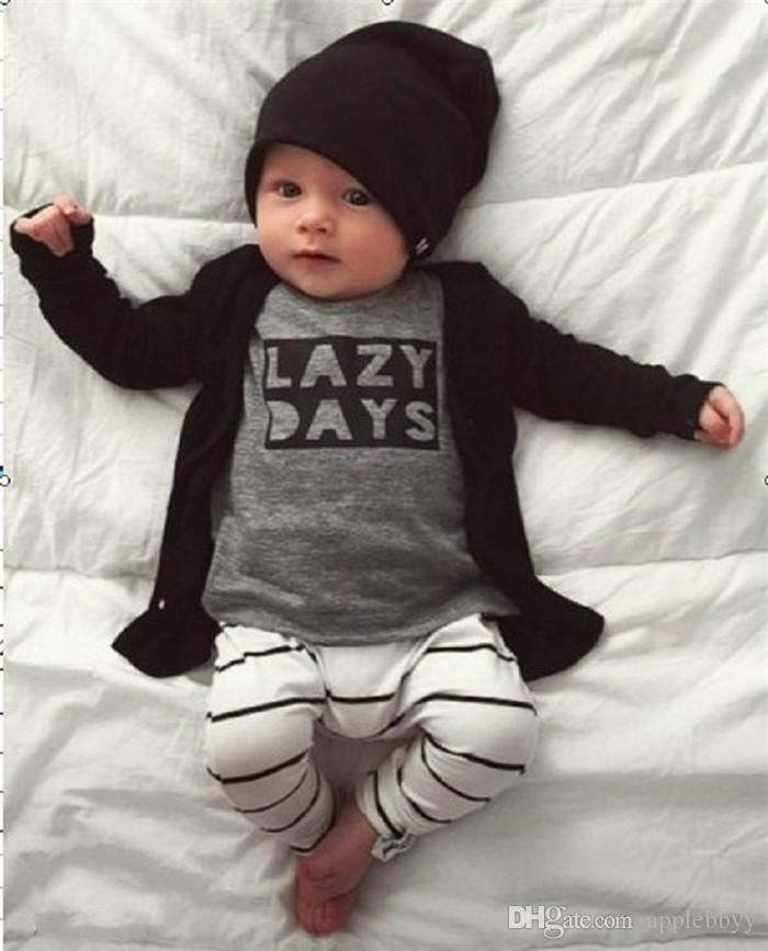 New INS Baby Boys Girls Letter Sets Top T-shirt+Pants Kids Toddler Infant Casual Long Sleeve Suits Spring Children Outfits Clothes Gift