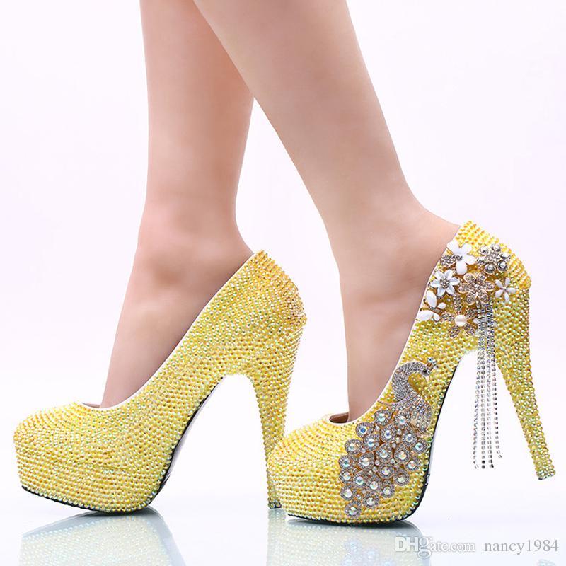 Lemon Yellow Rhinestone Wedding Party Shoes Handmade Bridal Dress Shoes Girl Birthday Party High Heels Prom Pumps Plus Size