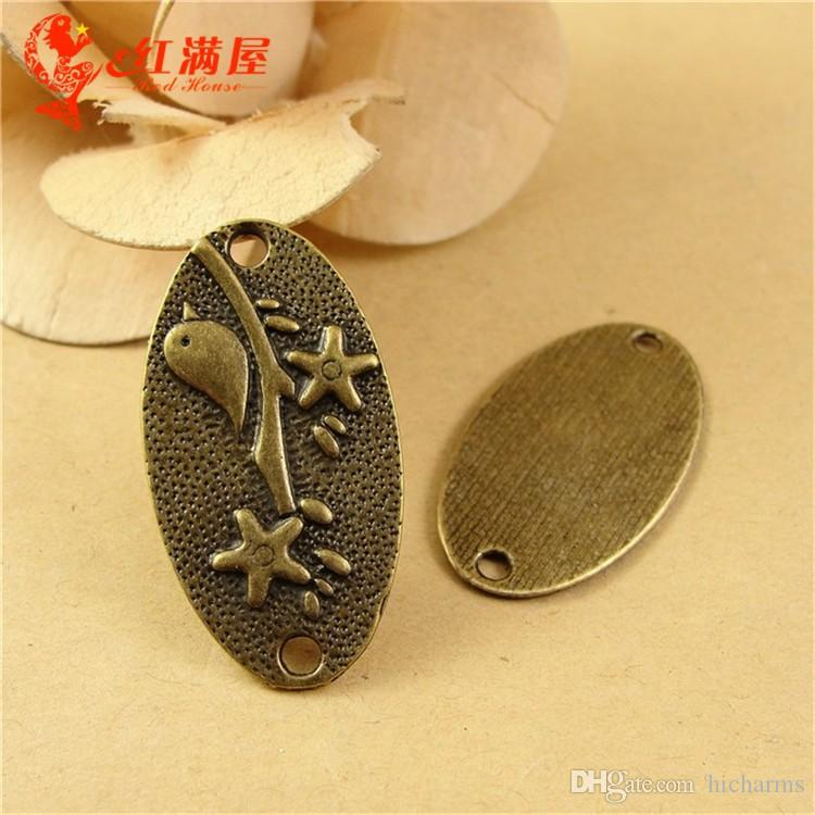 36*19MM Antique Bronze bird connector charms for bracelet, metal dangle tibetan silver tag pendant for necklace, brass zinc alloy charm