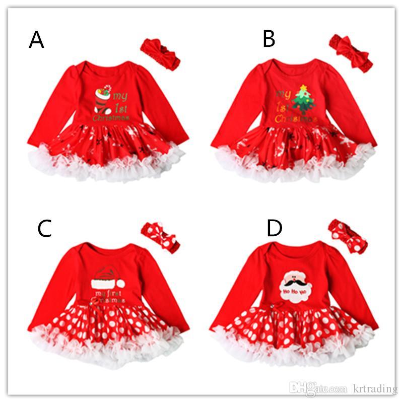 Baby-Mädchen Weihnachtsdruck rotes Kleid 2ps stellt gehäkeltes Bogenstirnband + Weihnachtsmusterstrampler Säuglinge erste Weihnachtsgeschenke nette Ausstattungen ein
