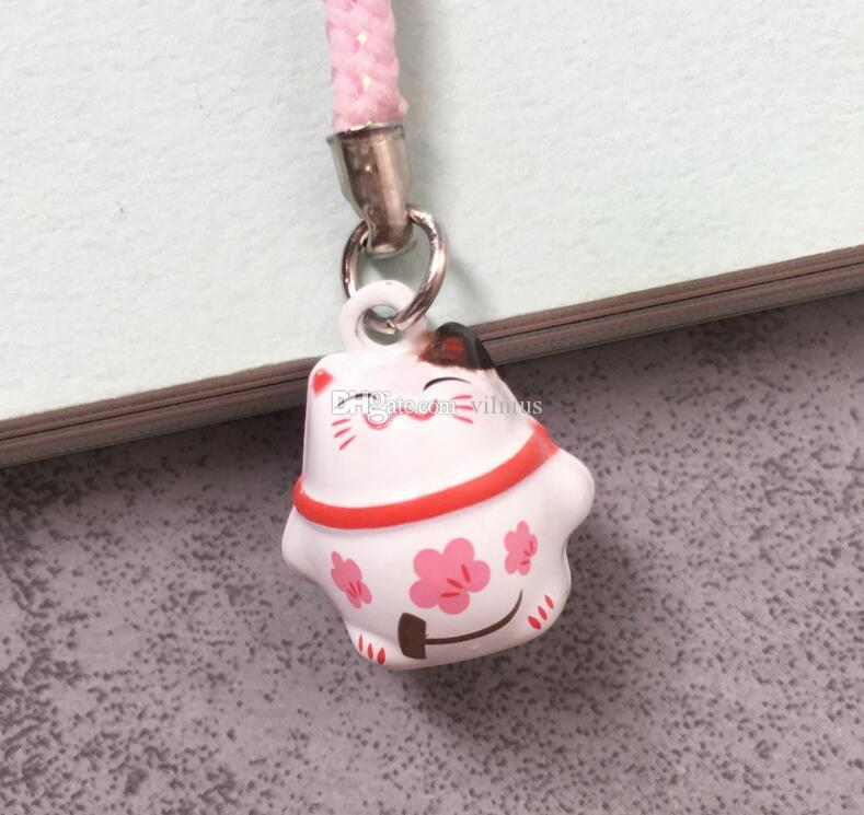 New Cartoon Pink lovely Classic Lucky cat Bell Cell Phone Charm Strap