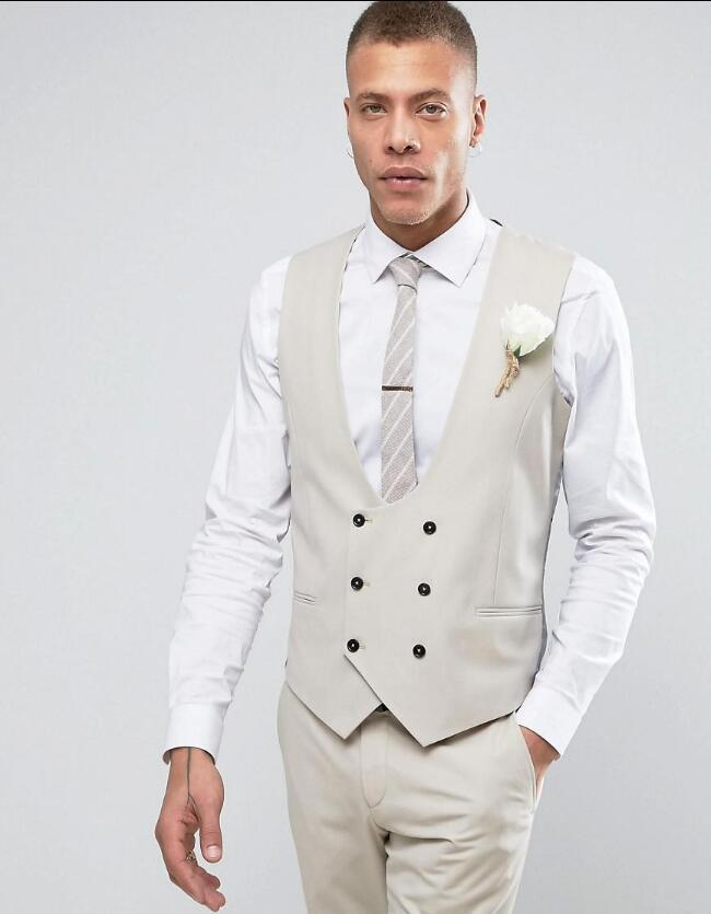 f33a4fa1f3 2019 Wholesale Latest Coat Pant Designs Ivory Double Breasted Men Suit Slim  Fit Tuxedo Custom Groom Suits Terno Masculino Vest+Pant Sgd From Viviant