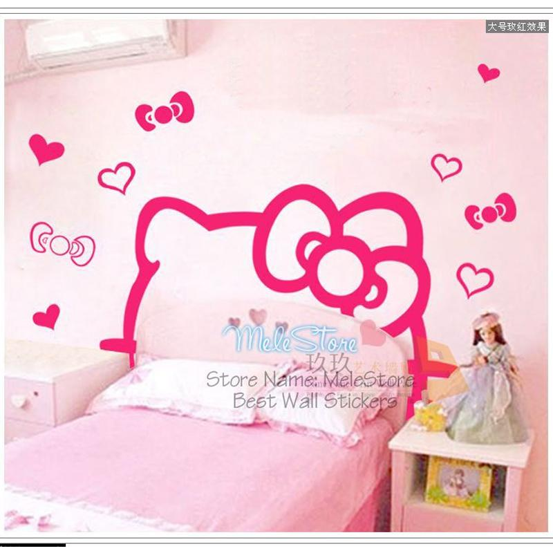 Wall Sticker Cute Cartoon Hello Kitty DIY Wall Sticker TV Bed Background  Kids Room Decor Home Bedroom Kids Girl Princess Pegatinas Pared