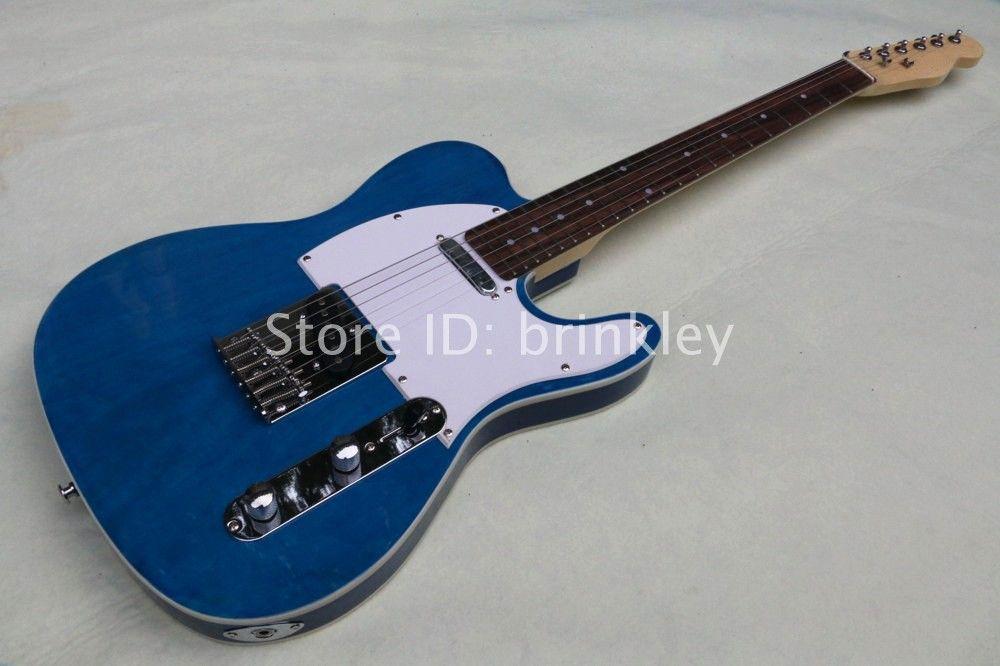 China wholesale factory custom sparkle bule metallic guitar 6 string electric guitar TL