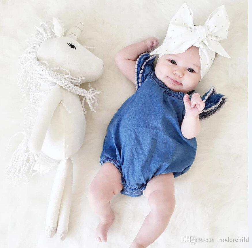 8eccdf33cb7 Ins Baby Summer Rompers Baby Girl Lace Fly Sleeve Denim Jumpsuit Newborn  One-piece Jumpsuit for 0-4T Girl Summer Rompers Girl Lace Jumpsuit Girl  Denim ...