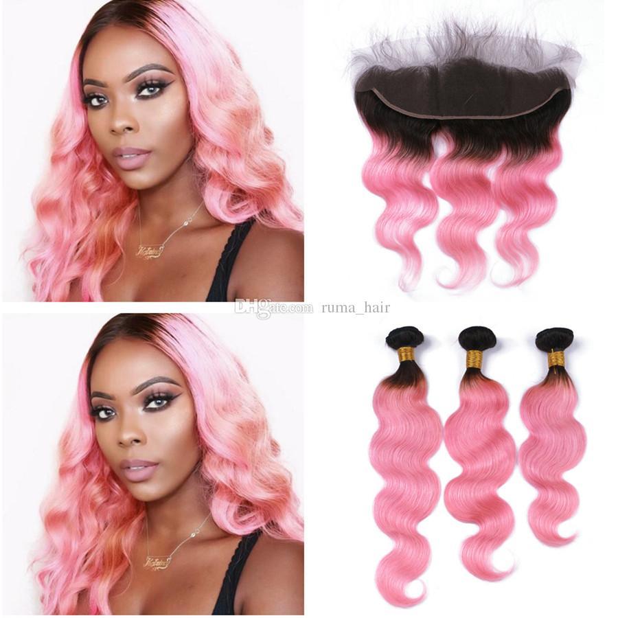 Two Tone 1B Розовый Ombre Объемная волна человеческих волос ткет с кружевом Фронтальная Закрытие бразильского Human Virgin Hair Pink Lace фронтального с узелками