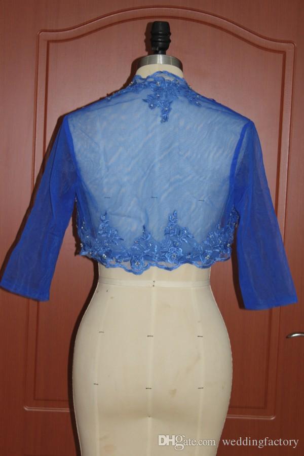 Exquisite Royal Blue Wedding Jacks Echte foto's Custom Colors Beaded Lace Applicaties Avondfeest Boleros Half Mouwen