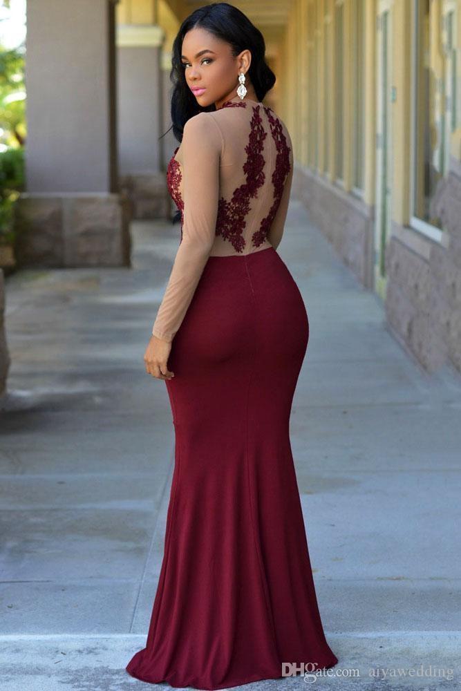 2019 Abiti modesti Abiti da sera Elegante abito arabo Sexy pizzo trasparente Applique Gioiello manica lunga Borgogna Sirena Chiffon Abiti celebrità