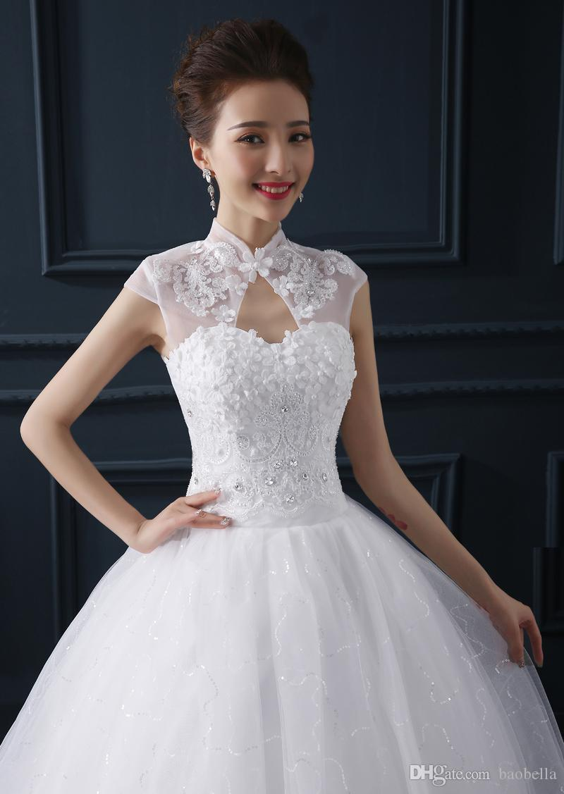 Alibaba China Robe De Mariage Wedding Dresses Crystals Flowers Lace White Gown High Neck Princess Cheap Bridal Elegant For