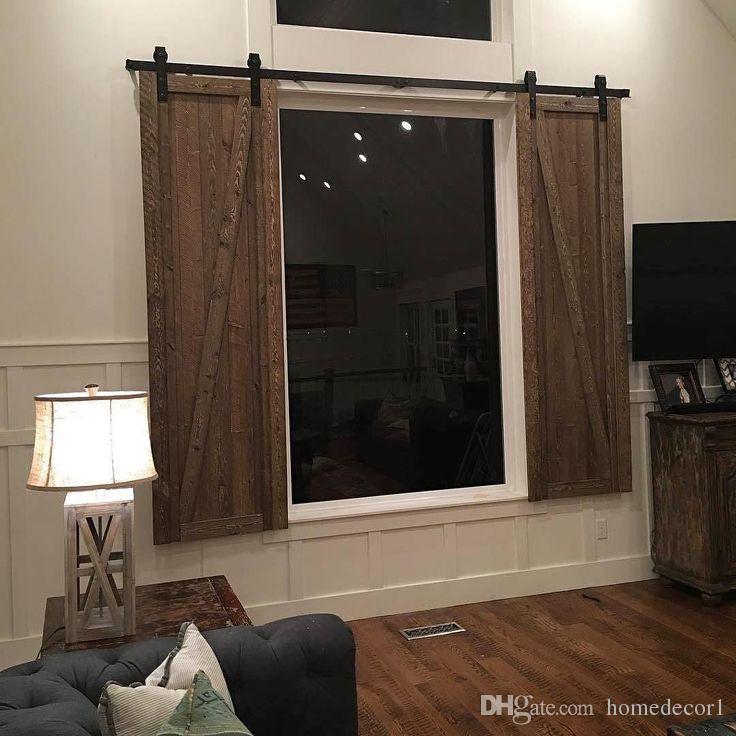 66ft Mini Modern Cupbard Furniture Double Wood Sliding Barn Door