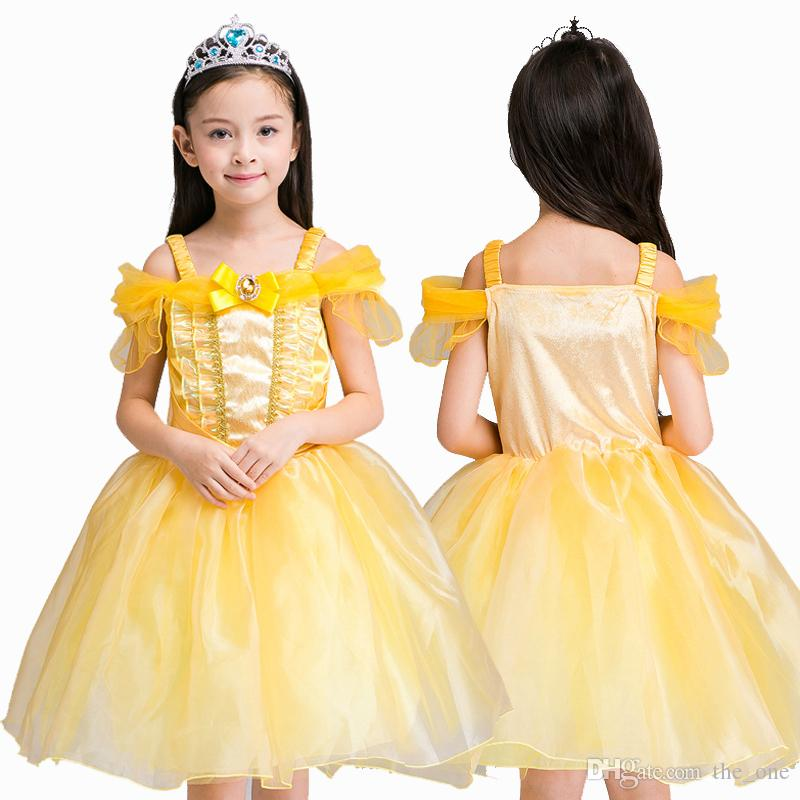 Children Girls Beauty And The Beast Kids Princess Belle Dress Up Set B1 Costumes