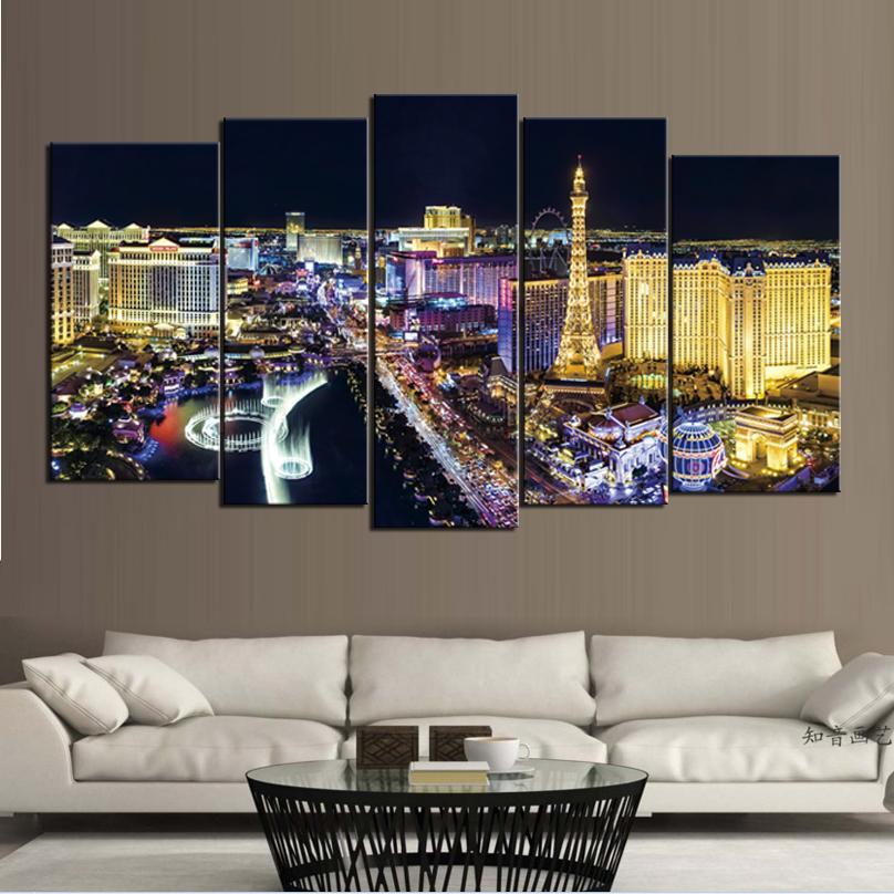 2018 Night View Of Las Vegas City Frameless Paintings No Frame ...