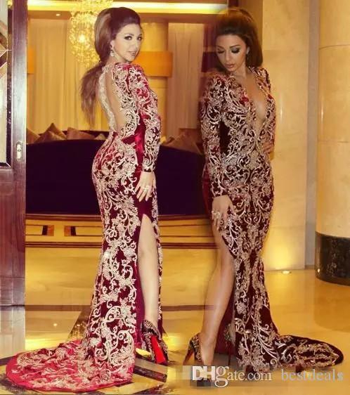 2017 Sexy Myriam Fares Haute Split Robes De Soirée Bourgogne Sirène Plongeant V Cou Dentelle Applique À Manches Longues Arabe Celebrity Party Robes