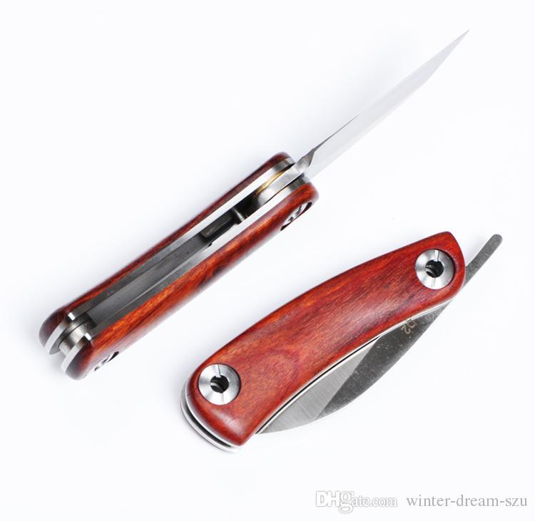 2016 Petit Couteau Pliant D2 Acier 59HRC Lame En Palissandre Poignée EDC Poche Survie Tactique Camping Couteau En Plein Air F924L