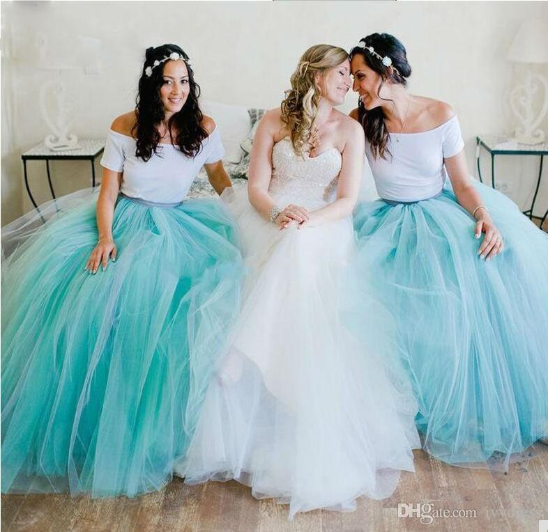 Two Pieces Floor Length Bridesmaid Prom Dresses For Wedding Party ...