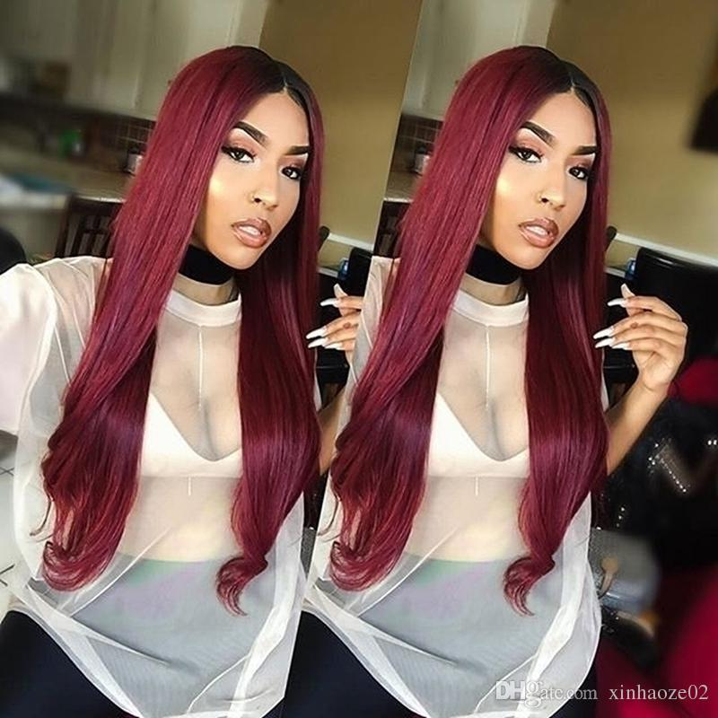 1bt99j Ombre Human Hair Full Lace Wig Straight Burgundy