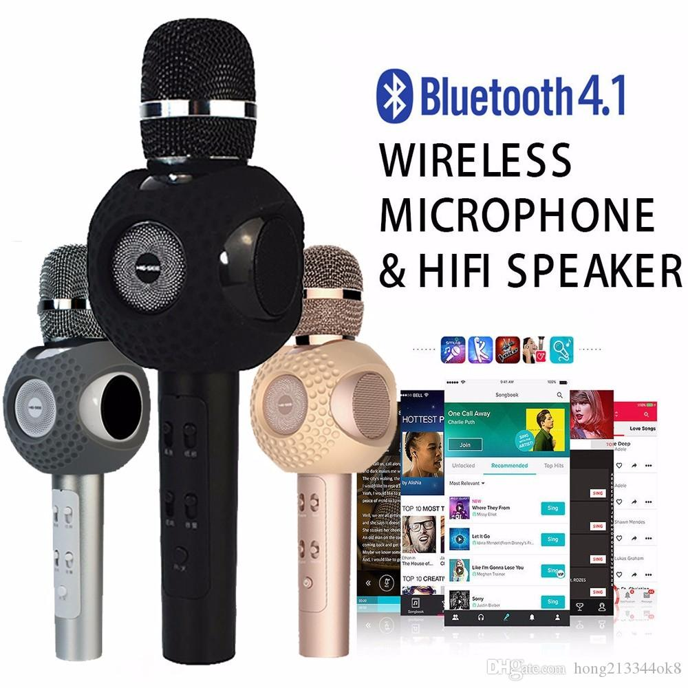 New Q9 Wireless Microphone microfone with Mic Speaker Condenser Mini  Karaoke Player KTV Singing Record for Smart Phones