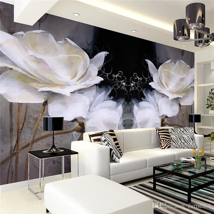 Avrupa yatak odası TV arka plan duvar kağıdı duvar resimleri modern basit Avrupa yağlıboya dikişsiz nonwoven siyah sıcak manolya çiçekler
