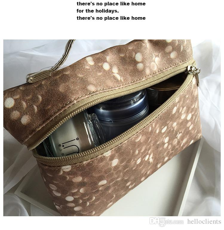 Wholesale- Luxury Fashion real leather double zipper cosmetic bag travel wash clutch key storage bag womens handbag makeup bag