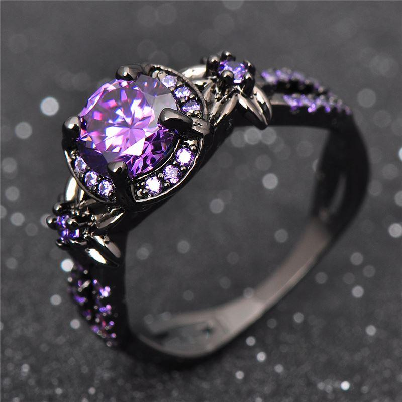 charming amethyst ring purple zircon fashion women wedding flower jewelry black gold filled engagement rings bague femme rb0433 2 carat diamond ring rose - Amethyst Wedding Rings