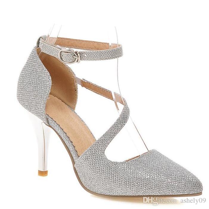 Sandaletler - Düğün / Elbise / Günlük - Topuklu / Sivri Burun - Topuk - Gümüş / Altın - Kadın ayakkabı