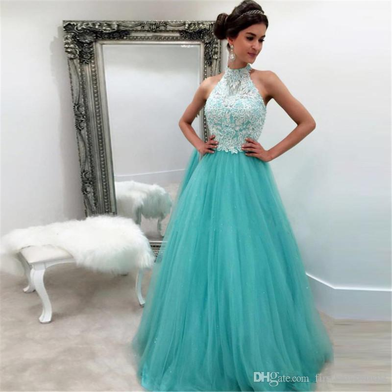 Aqua Halter Prom Dresses A-line Tulle Appliqued Lace Long 2017 Custom Made Special Occasion Party Gowns For Girls Vestidos Longo De Festa