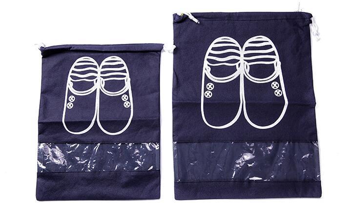 new korean style cute travel portable dustproof cover reusable blue navy blue non-woven fabrics shoe storage bag packings bag M/L size