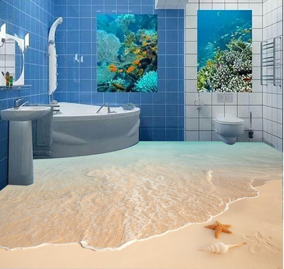 Beach Waves Sea Star Shell 3d Bathroom Floor Painting Mural 3d Wallpaper 3d  Wall Papers For Tv Backdrop Wallpaper High Resolution Widescreen Wallpaper  Hq ...