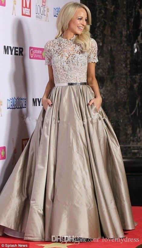 オスカーのイブニングドレス祝いのあるドレスAラインのウエディングドレスの床の長さのレースのジュエルネック半袖カスタムメイドのフォーマルウェアイオルション