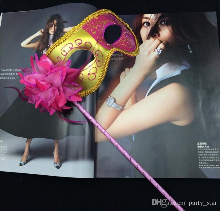Kadın Moda Iki renkli Boyama Parti Maskeleri Cadılar Bayramı Partisi Bez Çevreleyen Kenar Masquerade Maskeleri Parti Gösterisi Karnaval Maske ...
