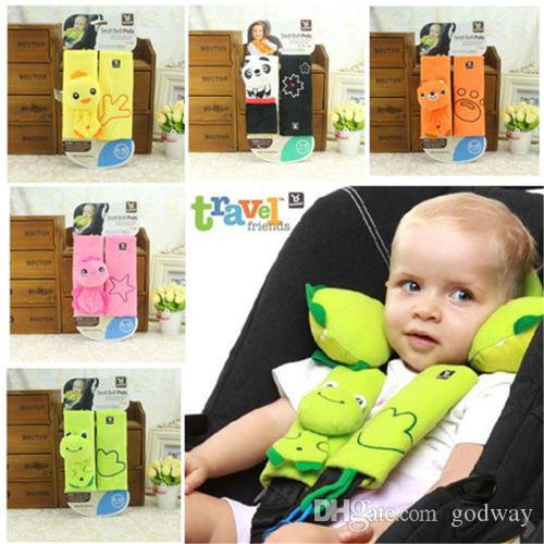 2018 Cute Animal Baby Car Seat Stroller Shoulder Pad Belt Strap Cover Holder Injury Reversible Pads Covers For Children From Godway