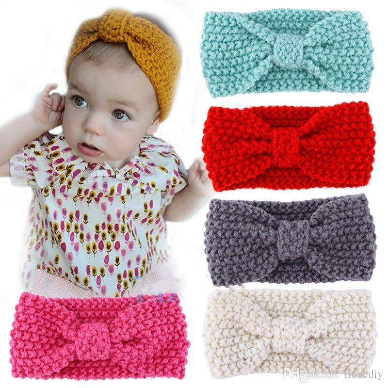 2019 Cute Kids Girl Baby Toddler Crochet Bow Headband Hair Band