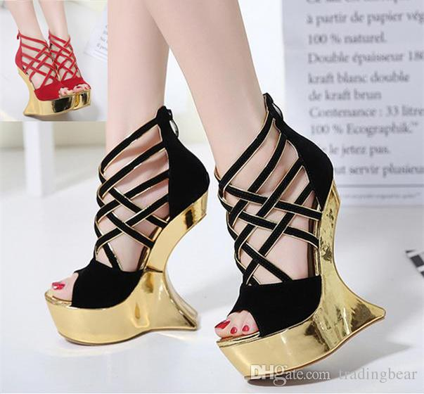 b2b2a534d4c 2017 Gold Platform Peep Toe Cross Strap Strange High Heel Wedding Shoes  Women Sandals Size 34 To 40 Wholesale Shoes Black Shoes From Tradingbear