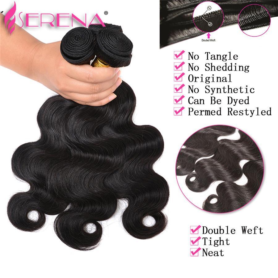 Бразильские волосы ткать пучки с 360 кружева фронтальная группа закрытия 4 шт. бразильские девственные волосы с 360 полный фронтальная группа закрытия