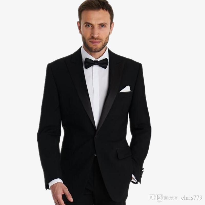 Sur mesure hommes affaires costumes costumes de mariage tuxedos smokings slim fit fashion noir dernière conception costumes avec pantalons hommes marié veste + pantalon + veste