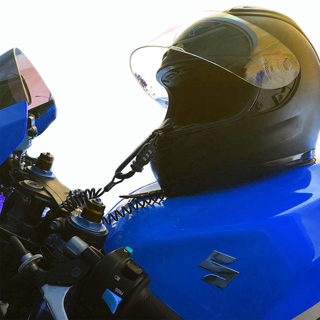 3-значный PIN-замок Многоцелевой замок для мотоциклетного шлема с регулируемым прочным стальным кабелем для крепления вашего шлема к мотоциклу