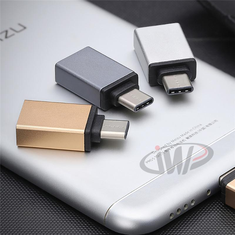 Type-C Metal Charge Adapter Micro USB 3.0 with OTG Male to Female Connector for Samsung Galaxy Note 8 Huawei LeTV Oneplus Phone