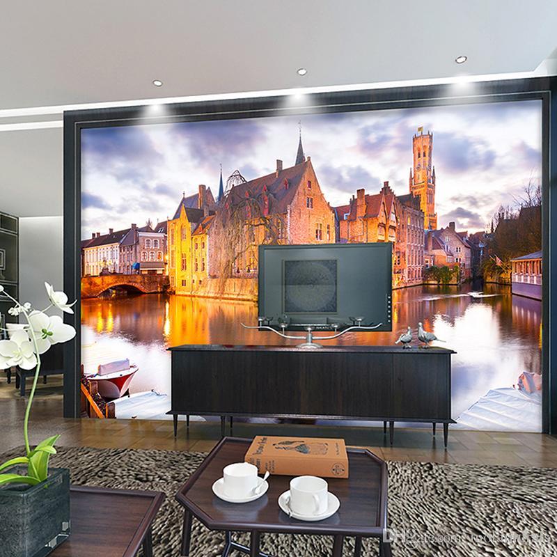 benutzerdefinierte foto wandmalereien wohnzimmer sofa schlafzimmer  backsplash moderne wohnkultur wasser stadt retro gebäude stadt holz tapete  3d