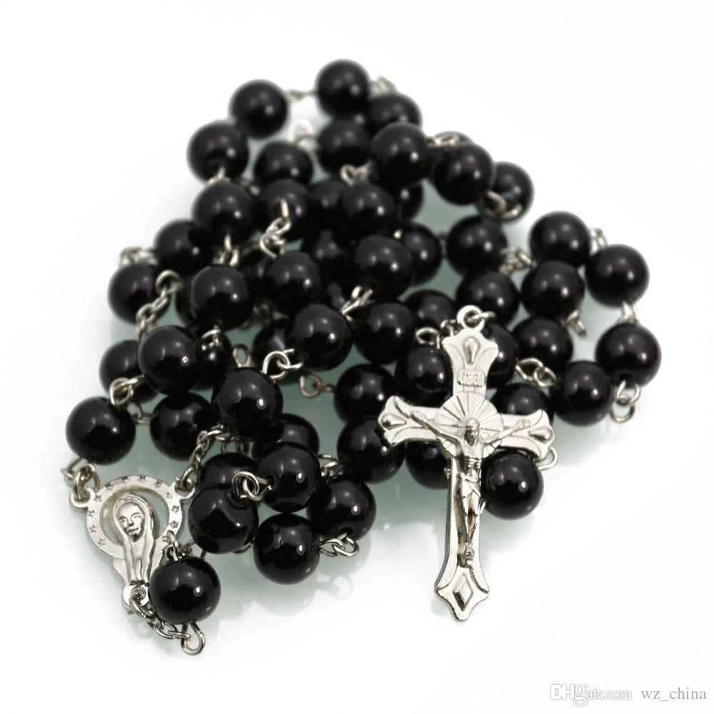 Collana di perle da donna in argento con rosario Collana di perle in argento bianco / nero con rosario a forma di croce Collana di gioielli da 6 mm 120 mm / lotto Nuovo
