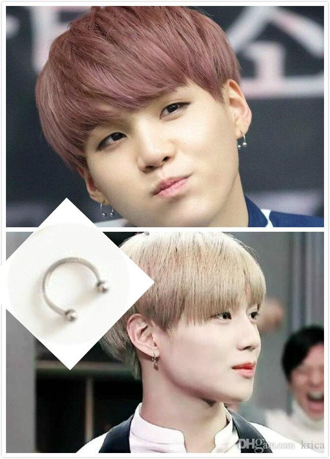 Korea BTS Suga SHINee Taemin Titanium Ring Steel Studs Silver Earnings Hot Men Women Christmas Party Simple Special Four Sizes Free Shipping