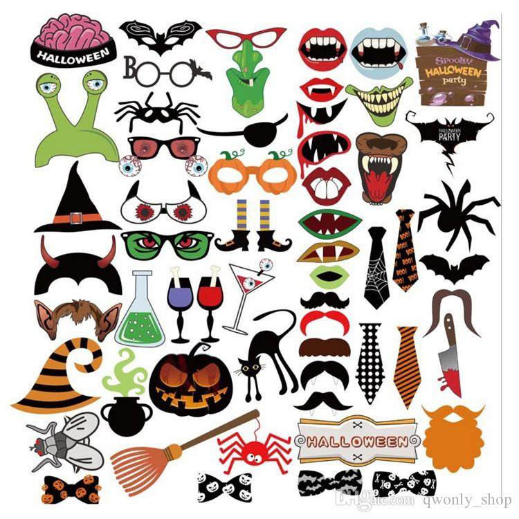 2017 New Funny Masks Photo Booth Props with Lips Moustaches glasses and Sticks Party Halloween Decorations Prop