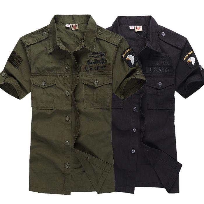 77b032e813 Compre Plus Size Mens Verão Camuflagem Do Exército Verde Camisa Homens  Mlitary Tactical 100% Camisa De Algodão Dos EUA Divisão Aérea Tops De  Tangonel