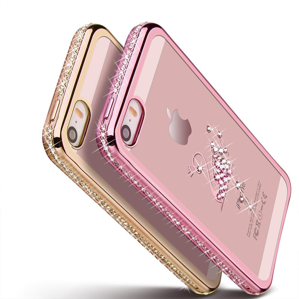 b63d2388a2f 5 5S Rhinestone Silicone Case For IPhone 5S 5 SE 6 S 6s Plus Glitter  Diamond Cover For I Phone 5 Fundas Coque Pink Gold Luxury Cell Phone Cases  Covers Cell ...