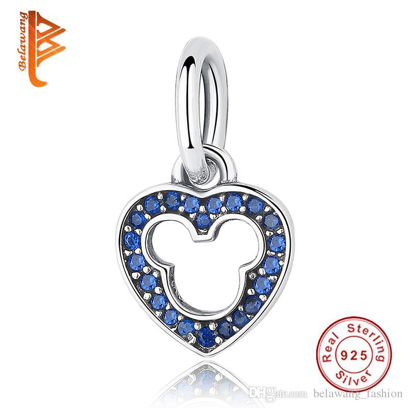 850c7de6d 2019 BELAWANG European 925 Sterling Silver Heart Pendant Blue&Pink Crystal  Charms Fit Original Pandora Charm Bracelets&Bangles Jewelry DIY Making From  ...