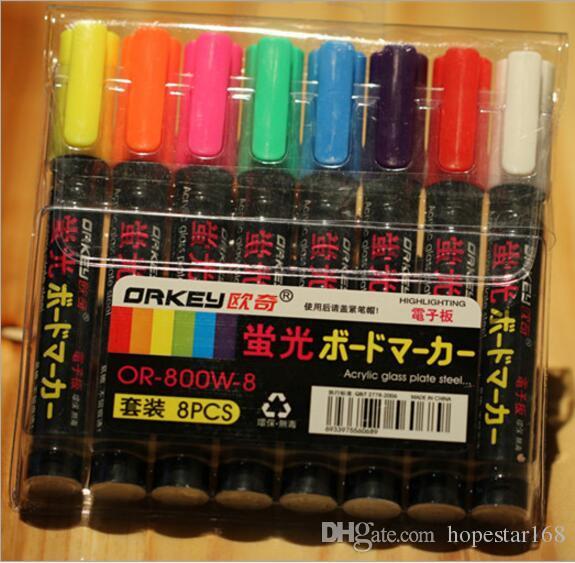8 Couleur Surligneurs Fluorescent Liquide Chalk Marker Neon Pen Pour LED Écriture Conseil 6 MM PT-1080