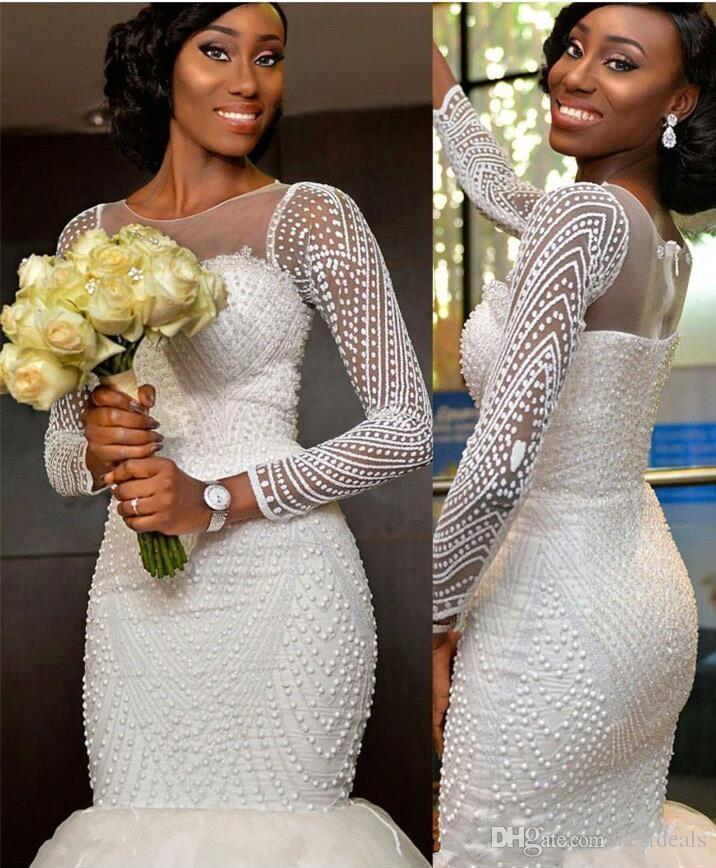 Stunning Long Sleeve Mermaid Wedding Dresses 2017 Tulle Beaded Vestidos De Novia Zipper-Up Court Train Bridal Gowns