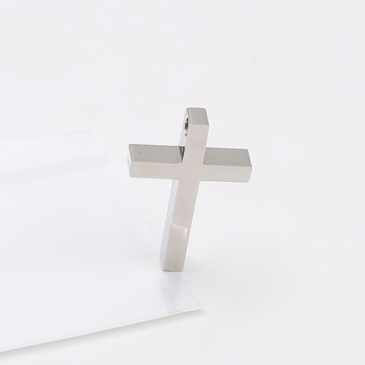 Haut pendentif symbole de croix religieuse religieux en acier inoxydable poli avec chaîne 24 pouces pour les hommes woemn